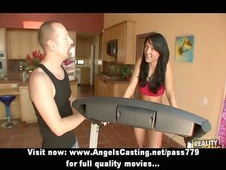 Sporty hot brunette doing blowjob for a guy and