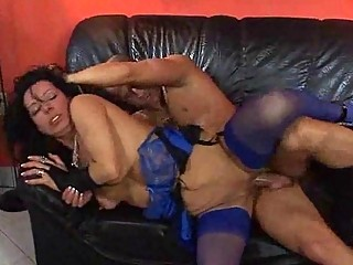 MILF in Blue Nylons Has Some Hardcore Sex on the