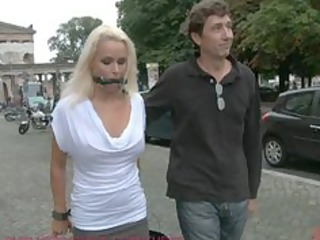 Beautiful German Milf Bound and Fucked in Public