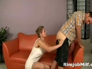 Phat booty blonde milf gives younger guy rimjob