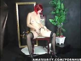 Busty amateur housewife home toying her shaved