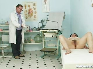 Grandma feels embarrassed during a gyno exam