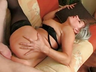 He wakes up stockings granny and fucks her