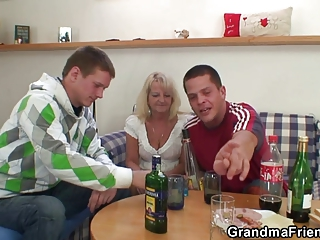 Two partying guys screw  granny