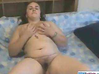 Horny Fat Chubby Teen showing her Hairy Pussy