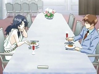 Anime man gets fuck by horny wife on dinner table