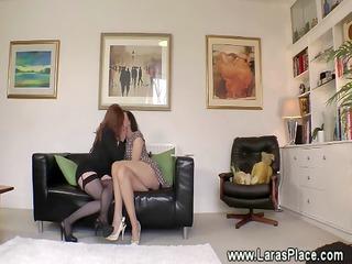 Mature lesbian lady seduced into sex