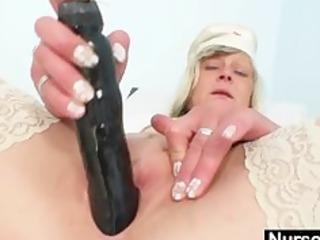 Filthy nurse milf Nada fucks herself with big