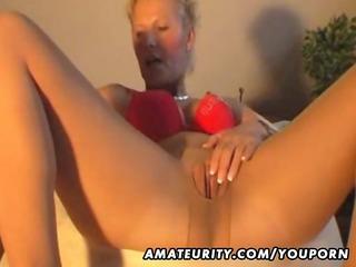 Hot amateur Milf masturbates, sucks and fucks