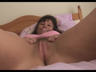 Big tits mature milf in pink slip shows off hairy