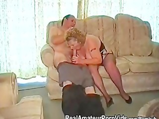 A fat granny has sex with her husband