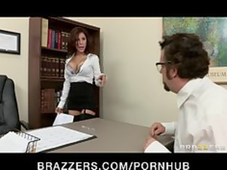 Big-tit brunette Latina boss fucks employees