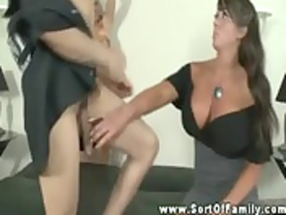 Big titted mom shows daughter how to orally