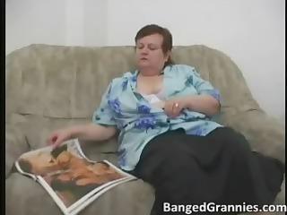 Fat MILF slut with big boobs gets horny