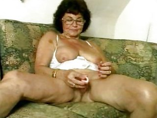 Filthy Granny Dildoing Her Old Twat