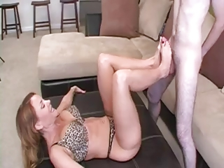 Mature Footjob for Young Guy