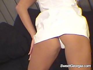 Sweet Georgia White Vinyl Doing A Sexy Striptease