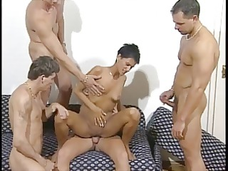 Mature milf gangbang and facials