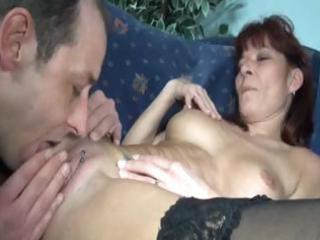 Mature redhead amateur eats his cock then takes