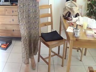 Amateur wife in long dress