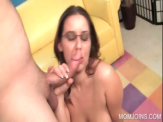 Excited mom pussy fucked on couch