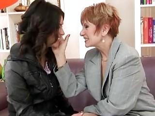 Horny milf lesbian and lesbian granny banging
