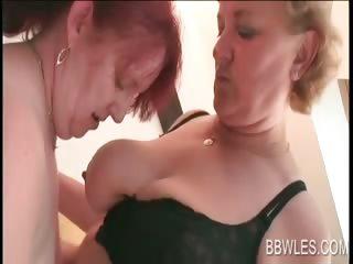Lesbian BBW pleasing mature assets
