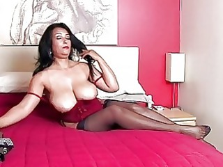Stunning brunette momma with huge bazongas in