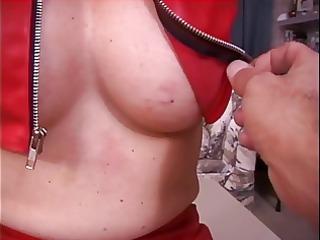 Mature big tits brunette in red latex, bound