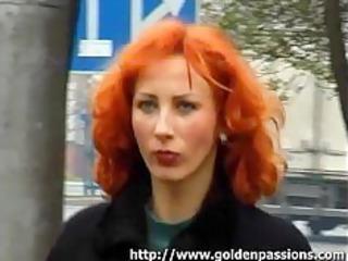 Mature redhead taking a piss in a public park