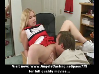 Adorable superb blonde cheerleader gets her pussy
