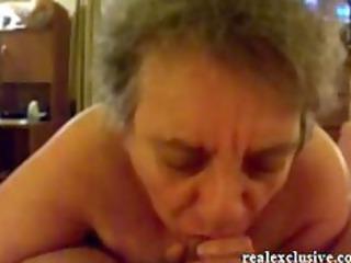 62 years Granny Sandra sucking cock of her love