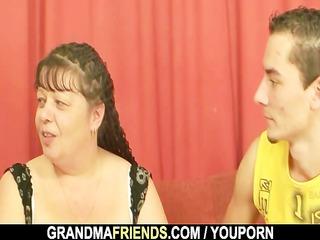 Two dudes bang fat mature