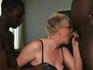 Two Black Guys Blowjob From Mature White Housewife