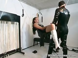 Slutty brunette MILF in rubber massage part4