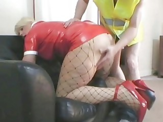Hot blonde MILF in latex outfit nailed by her