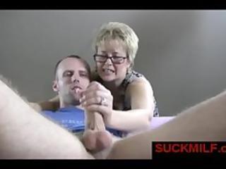 BLonde MILF help guy with orgasm