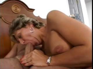 Busty mature lady sucks cock and gets her ass