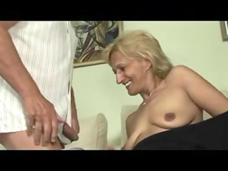 Blond aged masturbates and sucks and bonks with