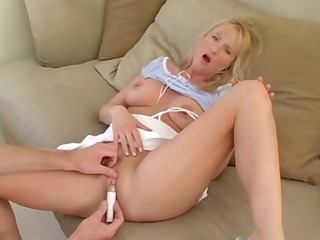 Hot blonde MILF sucks a long cock and fucks for a