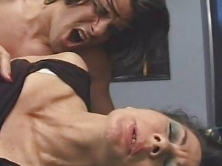 Mature  hairy  2 older women fucked on table