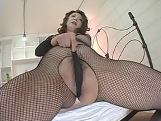 japanese MILF in black fishnets masturbation