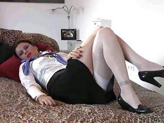 busty MILF stewardess footjob  fucking