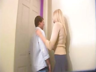 Blonde mom sends in a cock to teach her daughter