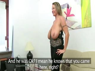 Mature woman fucking on leather sofa
