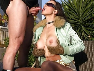 Outdoor Blowjobs with Hot Busty MILFS