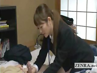 Japan milf sextoy saleswoman gives old client a