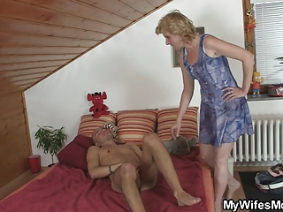 Horny guy drills his GFs mom pussy