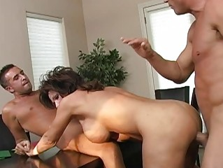 Busty brunette horny milf getting double fucked