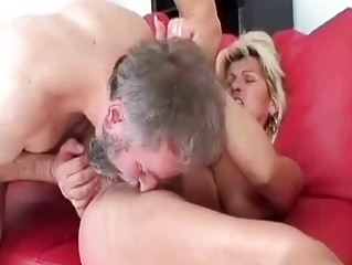 Horny granny riding her lovers happy old penis